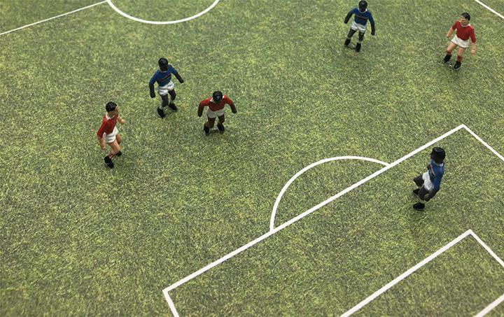 Football Players Personage & Sport Ground Maquette