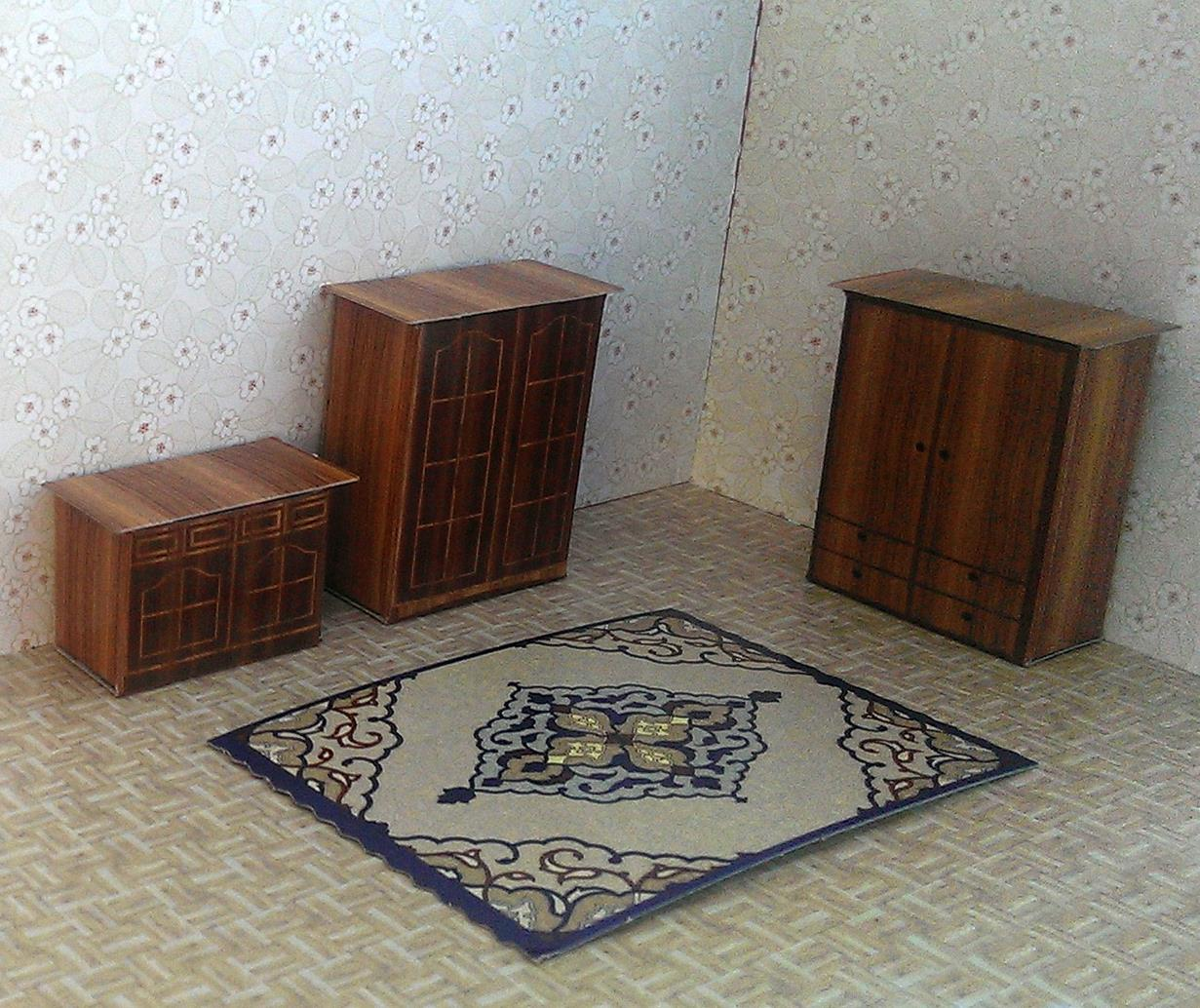 Self Assembly  Wardrobe, Chest of Drawers with wood pattern & Printed Carpet Maquette