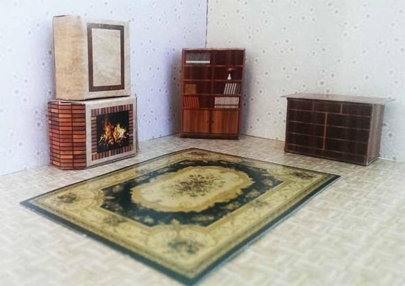 Self Assembly Fireplace, Bookcase, Chest of Drawers with wood pattern & Printed Carpet Maquette